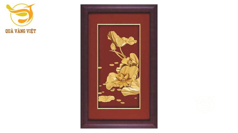 Tranh Hoa Sen Mạ Vàng-Kiểu 2